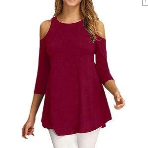 Tops - Burgundy cut out shoulder top